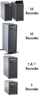 Microboards DVD Duplicators with 3,5,7,10 or 16 drives.